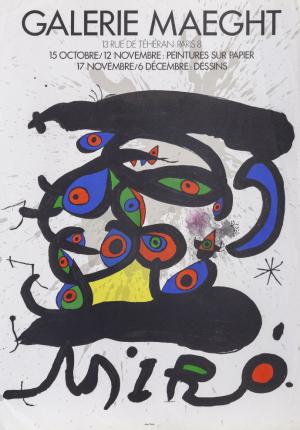 Jaon Miro lithografie van tentoonstelling poster 1971 Gallery Maeght