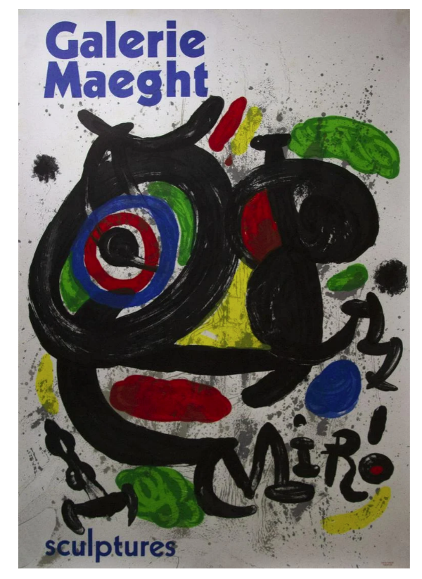 Jaon Miro lithografie van tentoonstelling poster 'Sculptures' 1970 Gallery Maeght